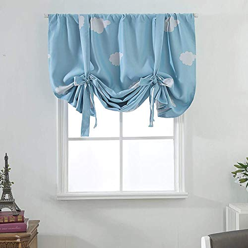 Blackout Kids Room Tie Up Valance Curtains Shades Valances for Kitchen Bedroom Windows Roman Blue Thermal Room Darkening Balloon Window Treatments Curtains for Nursery Living Room 63 Inch Length