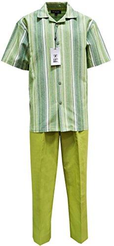 STACY ADAMS Men's Linen Yarn-Dye Shirt & Pant Set- Vertical Stripe Design (3XL/44, Green)
