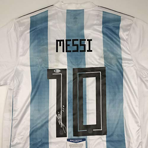 Autographed/Signed Lionel Leo Messi Argentina Blue/White World Cup Soccer Jersey Beckett BAS COA Auto