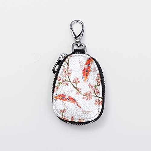 Custom Key Ring Zip Cute Mini Bling Key Chains For Women Tropical Japanese Flowers And Koi Fish Leather Car Key Case Cover Fasion Zipper Man Keychain For Auto Car Remote Smart Key Universal (Tropical Fish Keychain)