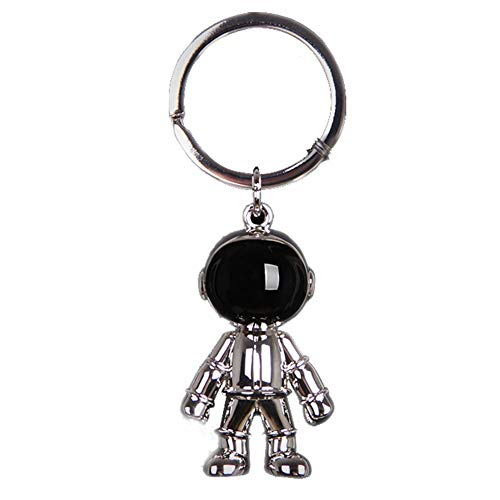 Silver Robot Keychains Men Steel Creative Spacemen Pendant Key Chain Ring Key Holder for Office House Heavy Duty Car Key Organizer Backpack Purse Charm