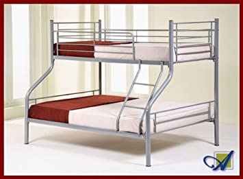 Metal Triple 3 Sleeper Bunk Bed With Two Sprung Mattresses