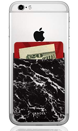 Vandel Pocket: Stick On Fabric Cell Phone Wallet | Credit Card Holder for Back of Smartphone Case | Stretchy Fabric Adhesive Sleeve Compatible with All Devices | Black Marble (Best Bank To Get A Credit Card For Students)