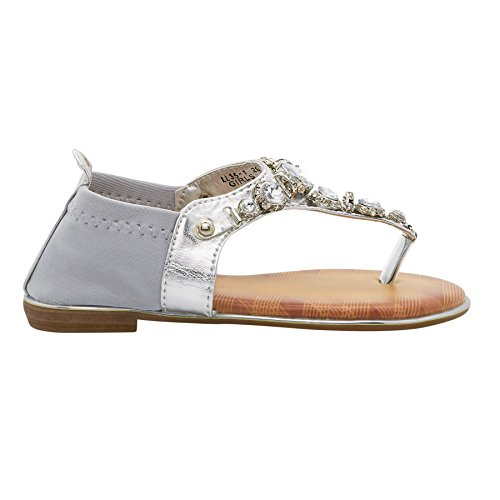 London Footwear ,  Damen T-Bar Silber