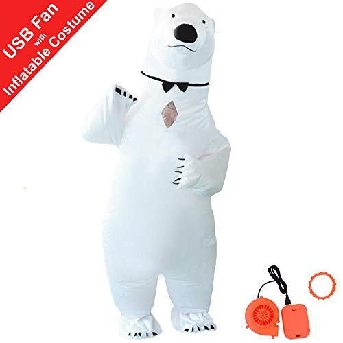 HUAYUARTS Polar Bear Inflatable Costume Suit White Adult Blow up Cosplay Halloween, Free Size ()