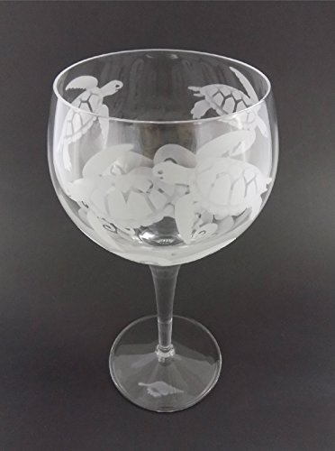 Hand Etched Luigi Bormioli Michelangelo Masterpiece Italian Crystal Goblet Sandblasted (Sand Carved) Handmade Wine Water Glass Engraved (Sea Turtle Waves, 500ml (17 Ounce) Red Wine)