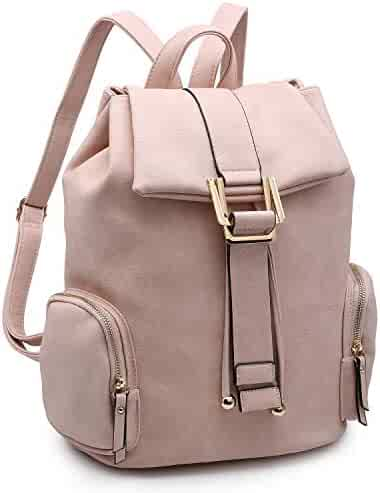 2eca3267dd Women Fashion Backpack Purse PU Leather Rucksack Casual Travel School  Backpack w Drawstring Snap Closure