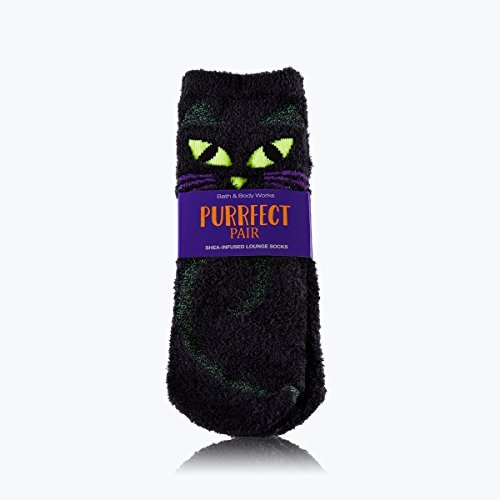 Bath and Body Works Shea Infused Lounge Socks Purrfect Pair Halloween Cozy Black -