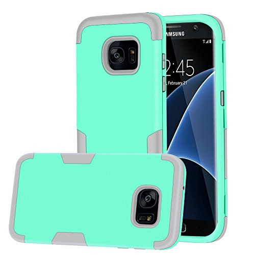 Pink Jeweled Heart (Galaxy S7 Edge Case, MCUK [Scratch Resistant] [Shock Absorption] 3 in 1 High Impact Hybrid Armor Defender Silicone Rubber Skin Hard Case Cover For Samsung Galaxy S7 Edge (Mint Green+Grey))