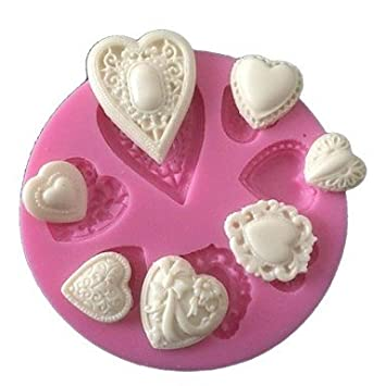 HJLKP accesorios amor del corazón de la torta del silicón del molde para hornear herramientas de cocina adornos para tortas chocolates moldes sugarcraft: ...