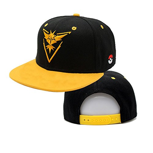 Baseball Cap Hats Pokemon Go Team Instinct Valor Mystic Premium Quality Stitches Snapback (Team Instinct Yellow Snapback)