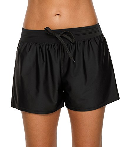 ATTRACO Womens Swimsuit Shorts Loose Fit Solid Drawstring Beach Boradshorts L