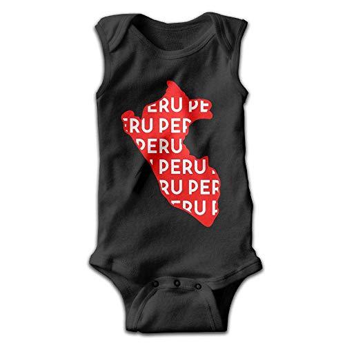 Peru Map Text Baby Newborn Infant Creeper Sleeveless Romper Bodysuit Onesies Jumpsuit Black ()