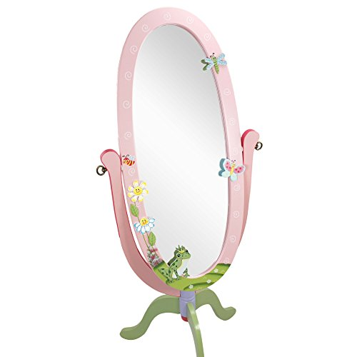 Fantasy Fields - Magic Garden Thematic Kids Wooden Standing Mirror for Girls | Imagination Inspiring Hand Crafted & Hand Painted Details   Non-Toxic, Lead Free Water-based Paint by Teamson Design Corp