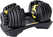 Adjustable Dumbbell Weight 52.5lbs with Fast Automatic Adjustable and Weight Plate for Body Workout Home Gym S
