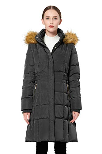 Orolay Women's Puffer Down Coat Winter Jacket with Faux Fur Trim Hood YRF8020Q Black XL