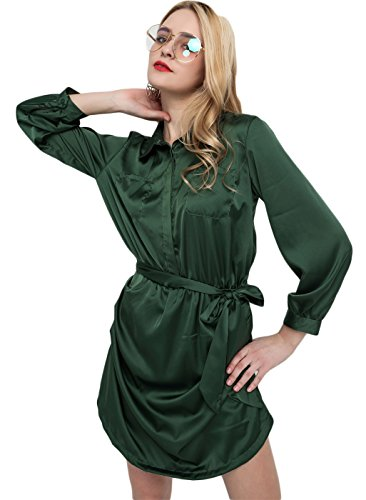 Arctic Cubic Boyfriend Style Button Front Self Tie Shirt Jumpsuit Playsuit Romper Army Green S