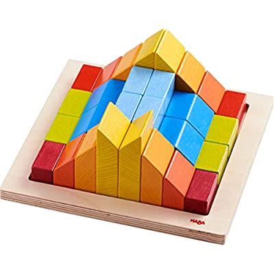 HABA 3D Arranging Game Creative Stones with 28 Wooden Blocks and 15 Double Sided Template Cards with 3 Degrees of Difficulty for Ages 2-6 (Made in Germany): Toys & Games