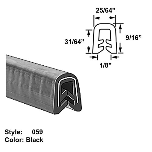 Heavy Duty Silicone Rubber High-Temperature U-Channel Push-On Trim, Style 059 - Ht. 9/16'' x Wd. 25/64'' - Black - 10 ft long by Gordon Glass Co. (Image #1)