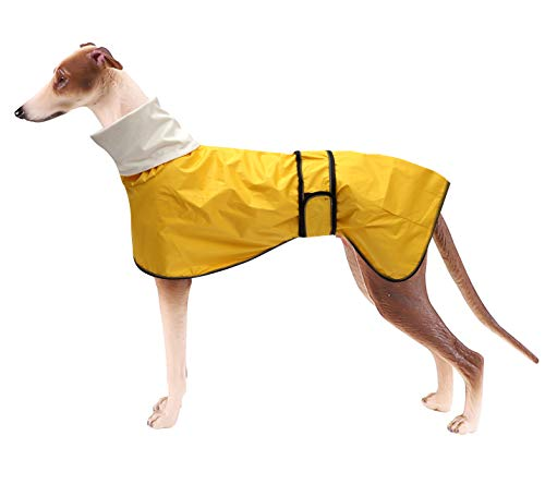 Morezi Dog Raincoat with Reflective Bar, Rain/Water Resistant, Adjustable Vest - Dog Raincoats for Greyhounds, Lurchers and Whippets - Yellow - XXL