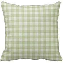 Light Green and Gray Plaid Gingham Chess Pattern Square Throw Pillow Cover Case Decorative for Sofa 18 x 18 Inch Two Sides