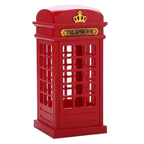 Vintage London Telephone Booth Designed USB Charging LED Night Lamp Touch Sensor Table Desk Light for Bedroom Students Dormitory Illumination Home Bar Decoration Novelty Birthday Adjustable Brightness