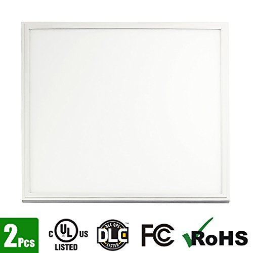 Hall LED Panel Light Square 2x2FT 40Watt Daylight White 5000K Super Bright Ultra Thin Glare-Free Edge-Lit, 0-10v Dimmable, UL-Listed, DLC-Qualified, 5 Years Warranty, 2-pack