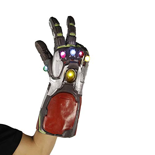 Latex Gauntlets - Arm Avengers 4 Endgame Black Infinity Gauntlet LED Latex Thanos Gloves Iron Man Fist Light Up for The Avengers Cosplay Prop Costume