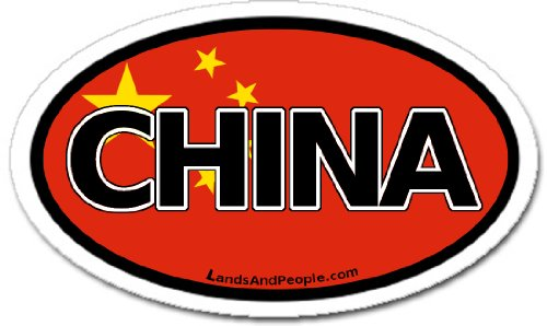 LandsAndPeople China and Chinese Flag Car Bumper Sticker Decal Oval (Best Dumplings In Beijing)