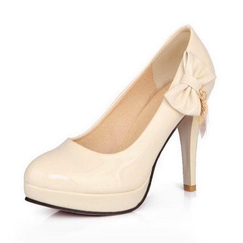 AllhqFashion Mujer Slip-on Charol Tacón Alto Puntera Redonda ZapatosdeTacón Beige
