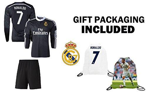 Fan Kitbag Ronaldo #7 Madrid Black Dragon Youth Soccer Jersey & Shorts Kids Premium Gift Kitbag ✮ BONUS Ronaldo #7 Drawstring Backpack (Youth Medium 8-10 years, Black Dragon Short Sleeve)