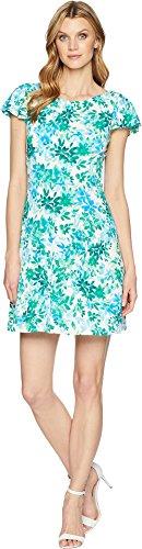 London Times Women's Flower Swirl Print Matte Jersey Dress Green (Floral Swirl Print Dress)