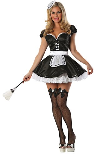 Playboy Ma Cherie Maid Costume, Black, Large (Womens Sexy French Maid Costume)