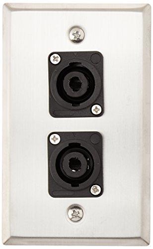 Speakon 4 Pole Line - Seismic Audio SA-PLATE10 Stainless Steel Wall Plate with Dual 4 Pole Speakon Connectors