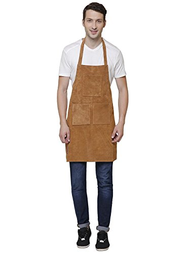 Rustic Town Genuine Leather Grill Work Apron with Tool Pockets ~ Adjustable up to XXL for Men & Women ~ Gift Ideas for Him Her (Tan) by Rustic Town (Image #6)