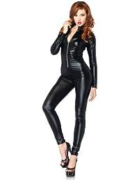 acd06ad1293 Women s Wet Look Zipper Front Cat Suit