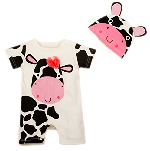 StylesILove Newborn Infant Toddler Cute Animal Baby Costume Jumpsuit and Hat (80/6-12 Months, White Cow)