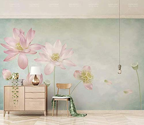 Murwall Floral Wallpaper Lotus Wall Mural Flower Wall Art Vintage Chinese Home Decor Living Room Bedroom Cafe Design - Lotus Flower Chinese Art