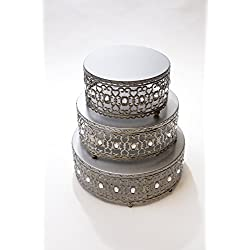 Opulent Treasures Antique Silver Cake Stands, Round, Set of 3, Decorative Moroccan Metal Design with Clear Jewels
