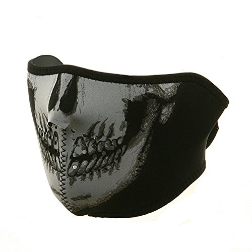 Mask Motorcycle Graphic Face (Neoprene Half 1/2 Face Mask Glow In The Dark Skull Graphics)