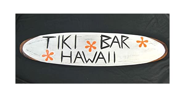 Tiki Bar Cartel de madera decorativo Tabla de Surf Cartel de madera Surf Lounge Style: Amazon.es: Hogar