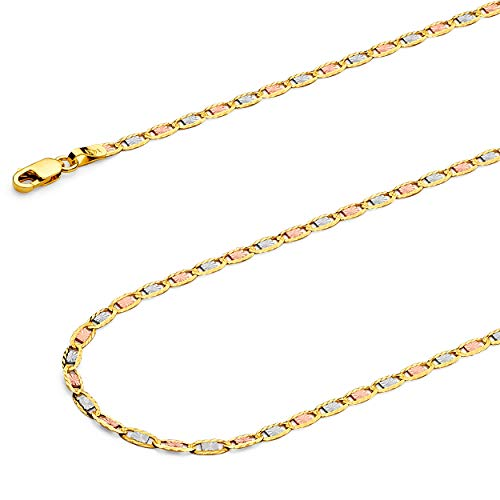 TWJC 14k REAL Tri Color Gold Solid 2.5mm Valentino Star/Edge Diamond Cut Chain Necklace with Lobster Claw Clasp - - Color Star Tri