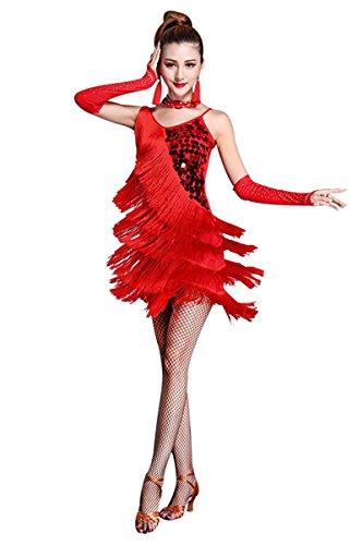 Honeystore Women's Tassle 1920s Sequin Flapper Dress Fringe Latin Dance Costume Red XL ()