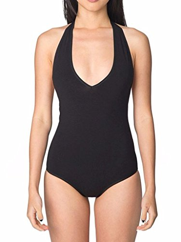 HIKA Model Sexy Halter V Neck One Piece Bodysuit Leotard Medium Black