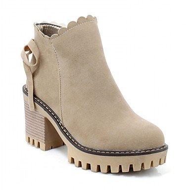 RTRY Zapatos de mujer polipiel Primavera Moda Invierno botas botas Chunky talón puntera redonda botines/botines de cremallera para oficina informal &Amp; Carrera US5 / EU35 / UK3 / CN34