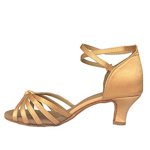 Beige Mujer VESI Zapatos de de Tacón Alto Latino para Baile Lazo Medio nBnqFU