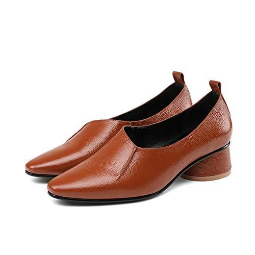Pingxiannv De on Caramel Cuadrada Bombas Mujer Zapatos Conciso Punta Cuero Casual Colour Slip Primavera Para AAx4r