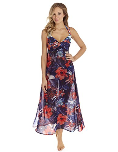 Seaspray Frida Navy Blue Floral Beach Maxi Dress 10-3031