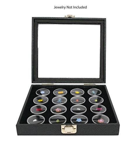 Novel Box Half-Size Glass Top Black Leatherette Jewelry Display Case + 16 Count Jar Insert Tray in Black + Custom NB Pouch