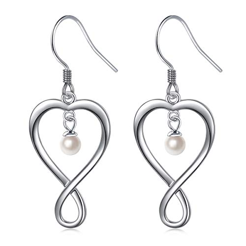 - S925 Sterling Silver Dangle Drop Heart Fish Hook Freshwater Pearls Infinity Earrings for Women Girl Jewelry